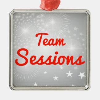 Team Sessions Square Metal Christmas Ornament