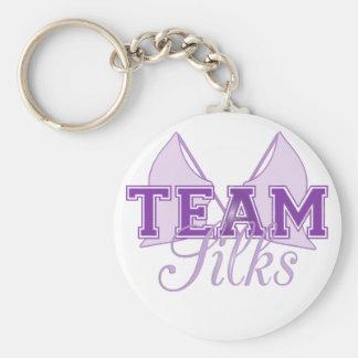 Team Silks Purple Basic Round Button Keychain