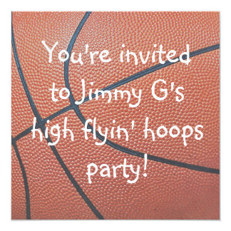 "Team Spirit_Basketball texture Birthday party 5.25"" Square Invitation Card"