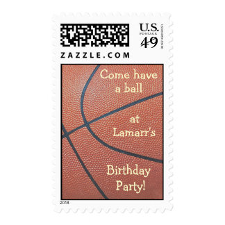 Team spirit_basketball texture_Have a ball b-day Postage Stamp