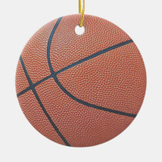 Team Spirit_Basketball texture_Hoops Lovers Double-Sided Ceramic Round Christmas Ornament
