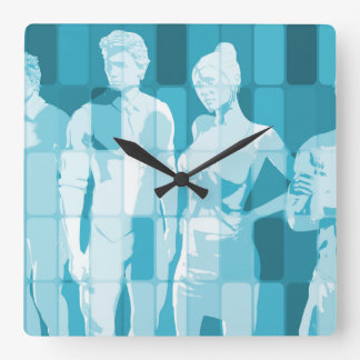 Team Spirit On a Mission in Business Concept Square Wall Clock