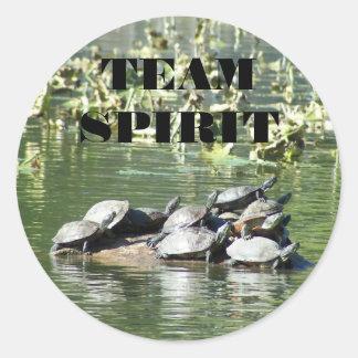 Team Spirit Turtle Photo Motivational Classic Round Sticker