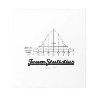 Team Statistics Normal Distribution Curve Stats Note Pads