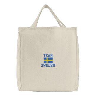 TEAM SWEDEN Scandinavian Embroidered Tote Bag