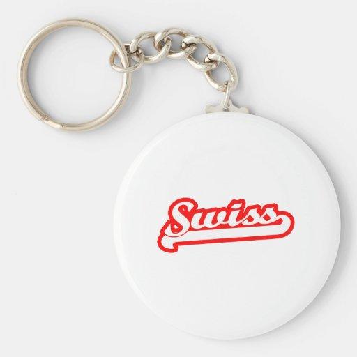 Team Swiss Basic Round Button Keychain
