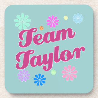 Team Taylor with Flower Accents Beverage Coasters