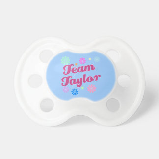 Team Taylor with Flower Accents Pacifier