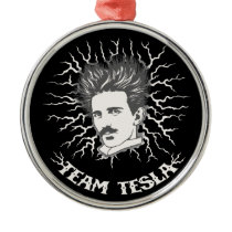 Team Tesla Static Hair Metal Ornament