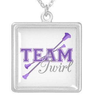 Team Twirl Baton Square Pendant Necklace