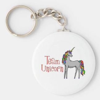 Team Unicorn Rainbow Basic Round Button Keychain