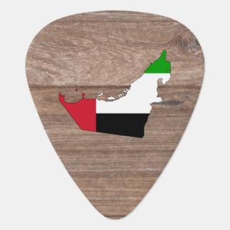 Team United Arab Emirates Flag Map on Wood Guitar Pick