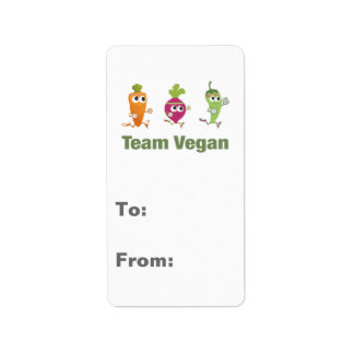 Team Vegan! Running Veggies Label