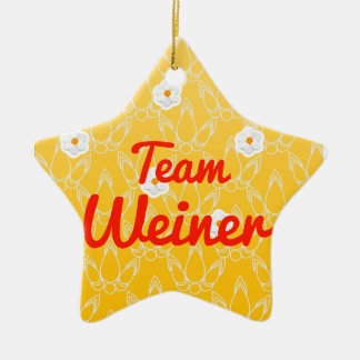 Team Weiner Double-Sided Star Ceramic Christmas Ornament