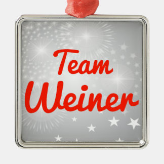 Team Weiner Square Metal Christmas Ornament