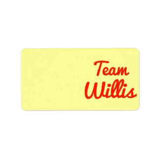 Team Willis Address Label
