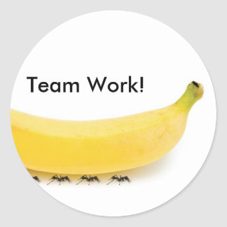 Team Work Banana & Ants - Funny Classic Round Sticker
