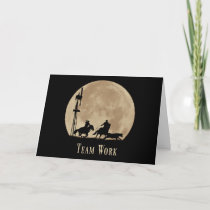 Team Work Business Motivational Card with Cowboys