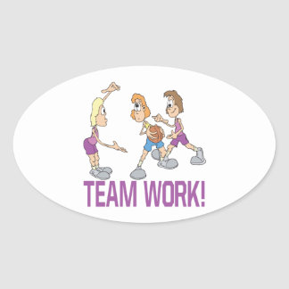 Team Work Oval Sticker