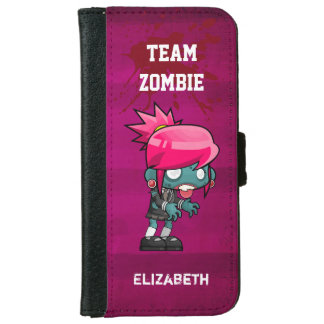 Team Zombie Cute Zombie Girl Illustration iPhone 6/6s Wallet Case