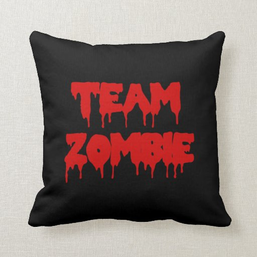 Team Zombie in Red Throw Pillow