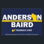 "TeamGuv — Anderson / Baird Lawn Sign<br><div class=""desc"">Show your passion for freedom and support for the Team that will bring liberty to Wisconsin in 2018— Phil Anderson and Patrick Baird!</div>"