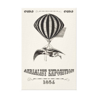 teampunk Man with Wings & Hot Air Balloon Canvas