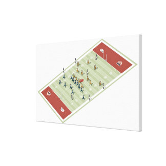 Teams on Canadian football pitch Canvas Print