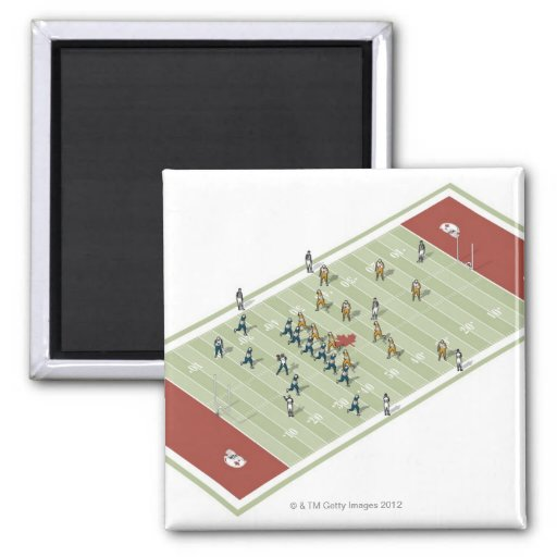 Teams on Canadian football pitch Refrigerator Magnet