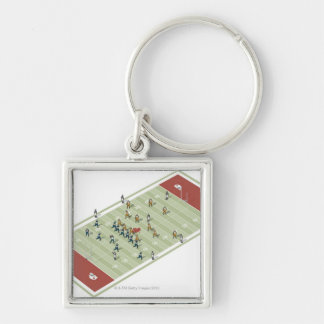 Teams on Canadian football pitch Silver-Colored Square Keychain