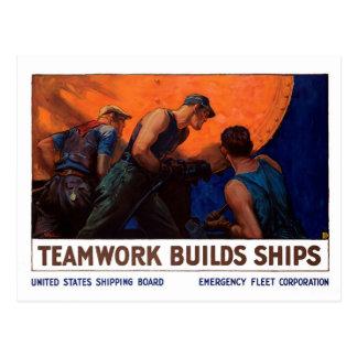 Teamwork Builds Ships Postcard