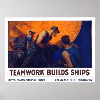 Teamwork Builds Ships -- World War One Poster