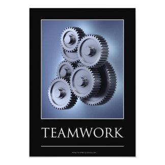 Teamwork concept with gear wheels card