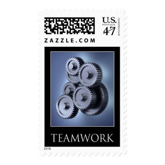 Teamwork concept with gear wheels postage