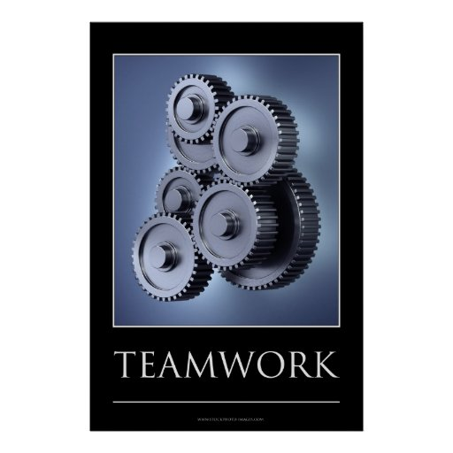 Teamwork concept with gear wheels poster