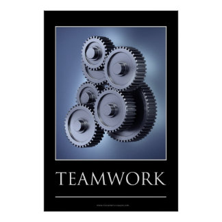 Teamwork concept with gear wheels posters