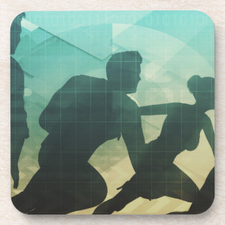 Teamwork Concept with Silhouette of Business Team Beverage Coaster