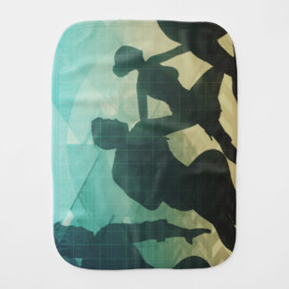 Teamwork Concept with Silhouette of Business Team Burp Cloth