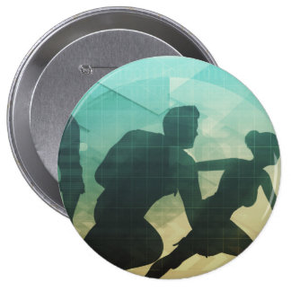 Teamwork Concept with Silhouette of Business Team Button