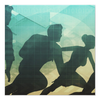 Teamwork Concept with Silhouette of Business Team Card