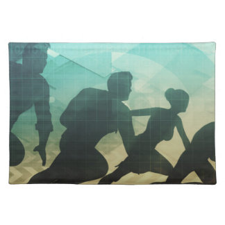 Teamwork Concept with Silhouette of Business Team Cloth Placemat