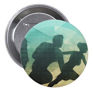 Teamwork Concept with Silhouette of Business Team Pinback Button