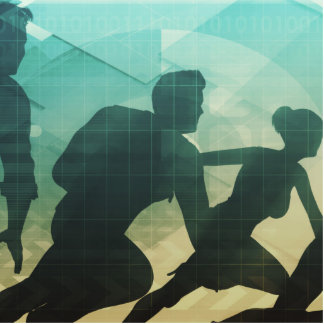 Teamwork Concept with Silhouette of Business Team Statuette