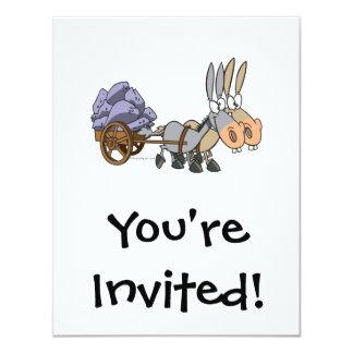 teamwork donkeys mules cartoon 4.25x5.5 paper invitation card
