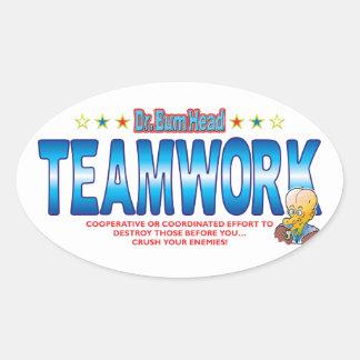 Teamwork Dr Bum Head Oval Sticker