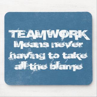 Teamwork Grunge Blue Mouse Pad