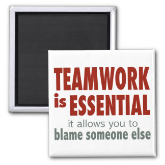 Teamwork is Essential 2 Inch Square Magnet