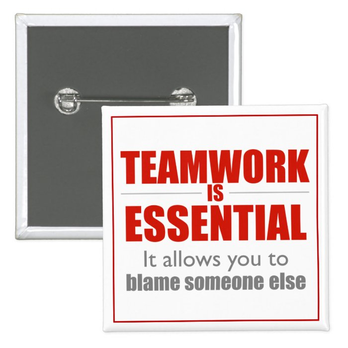 Teamwork is Essential (red square design) Button