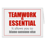 Teamwork is Essential (red square design) Greeting Card