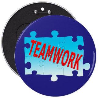 Teamwork Jigsaw Puzzle Pinback Button